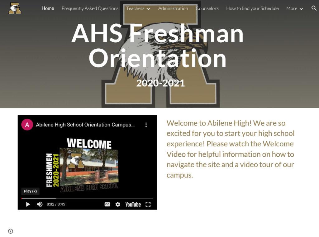 Freshman Orientation Website