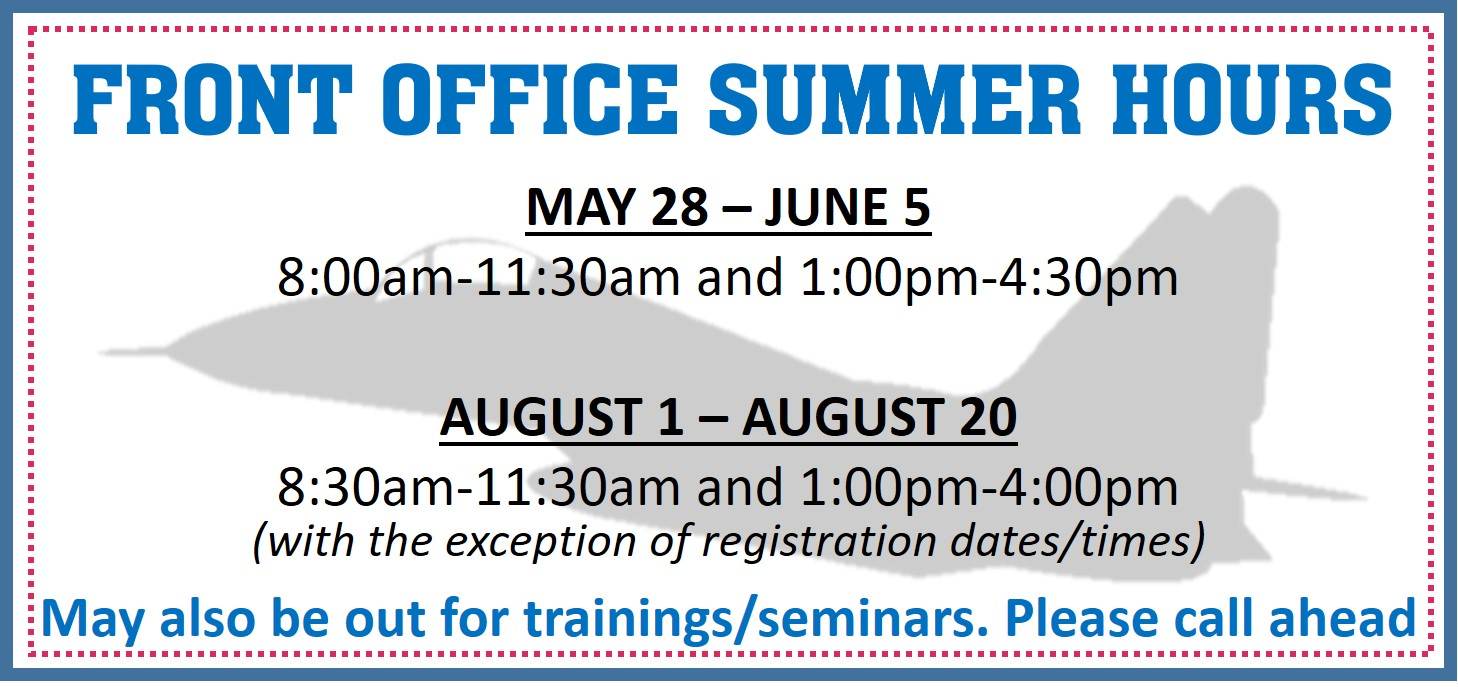 Front Office Summer Hours